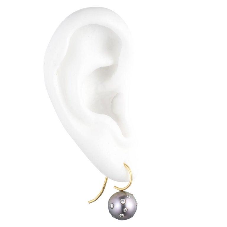 Tahitian Pearl, Diamond and 18 Karat Gold Earrings For Sale