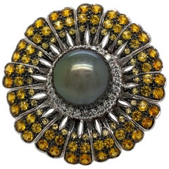 Tahitian Pearl, Diamond and Yellow Sapphire Floral Ring 18 Karat White Gold