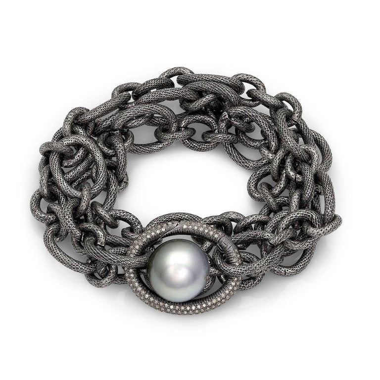 Detachable Diamond Link Necklace on an exclusive signature textured stainless steel link chain featuring a lustrous Triple A quality Tahitian pearl and a large detachable diamond-embedded sterling silver link clasp. A perfect addition to any