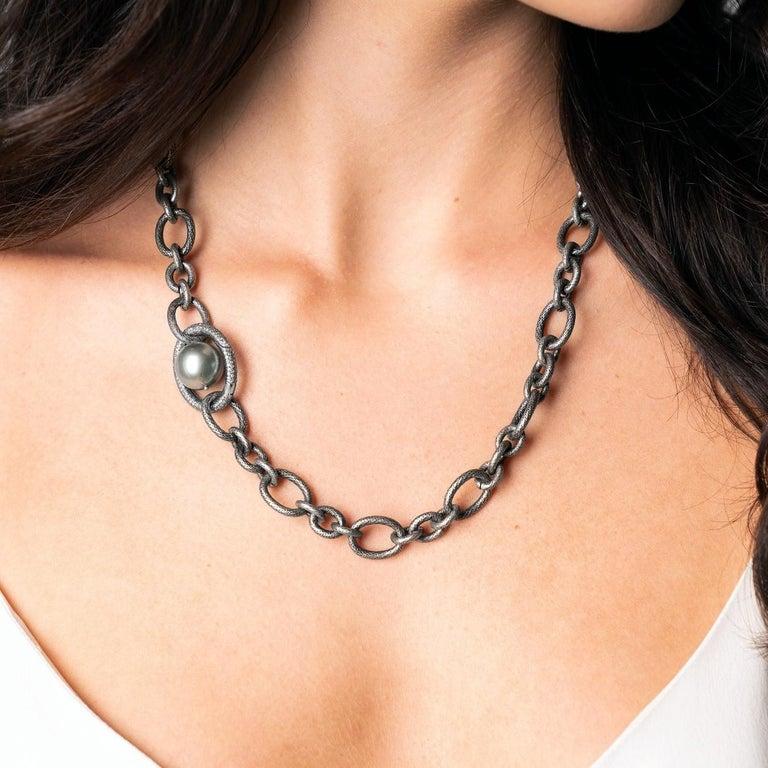 Artisan Tahitian Pearl Diamond Clasp Multifunctional Necklace, Lariat, and Bracelet