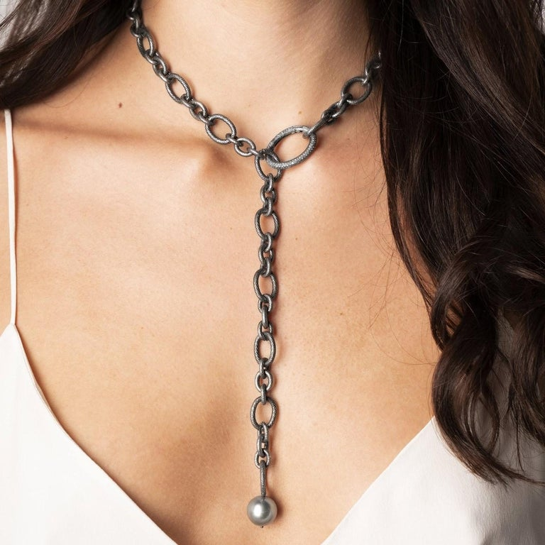 Tahitian Pearl Diamond Clasp Multifunctional Necklace, Lariat, and Bracelet In New Condition In Dallas, TX