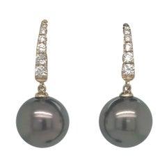 Tahitian Pearl Diamond Drop Earrings 0.30 Carat 14 Karat