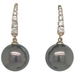 Tahitian Pearl Diamond Drop Earrings 0.30 Carat 14 Karat