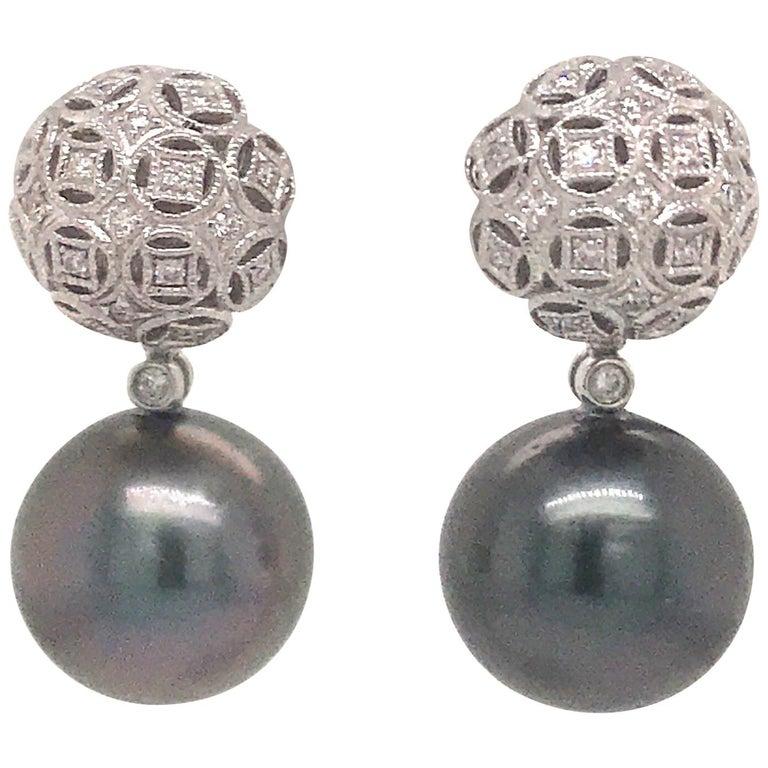 Tahitian Pearl Diamond Drop Earrings 0.30 Carat 18 Karat White Gold For Sale