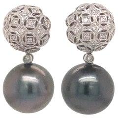 Tahitian Pearl Diamond Drop Earrings 0.30 Carat 18 Karat White Gold