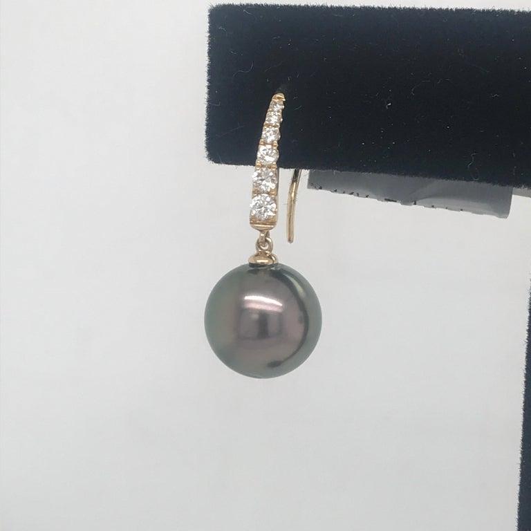 Contemporary Tahitian Pearl Diamond Drop Earrings 0.30 Carat 14 Karat For Sale