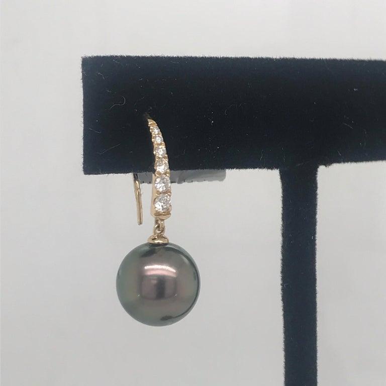 Round Cut Tahitian Pearl Diamond Drop Earrings 0.30 Carat 14 Karat For Sale