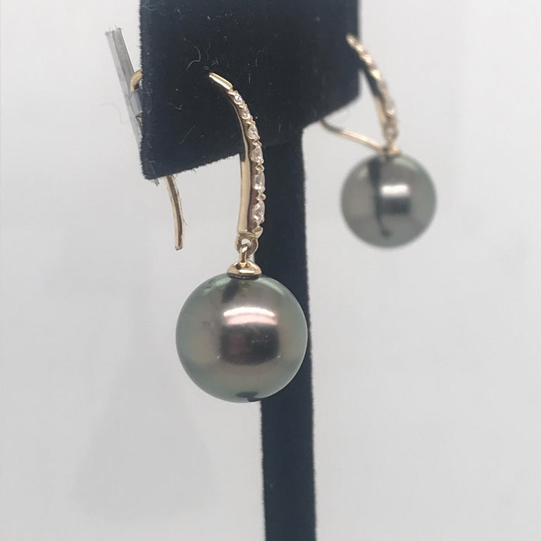 Tahitian Pearl Diamond Drop Earrings 0.30 Carat 14 Karat In New Condition For Sale In New York, NY