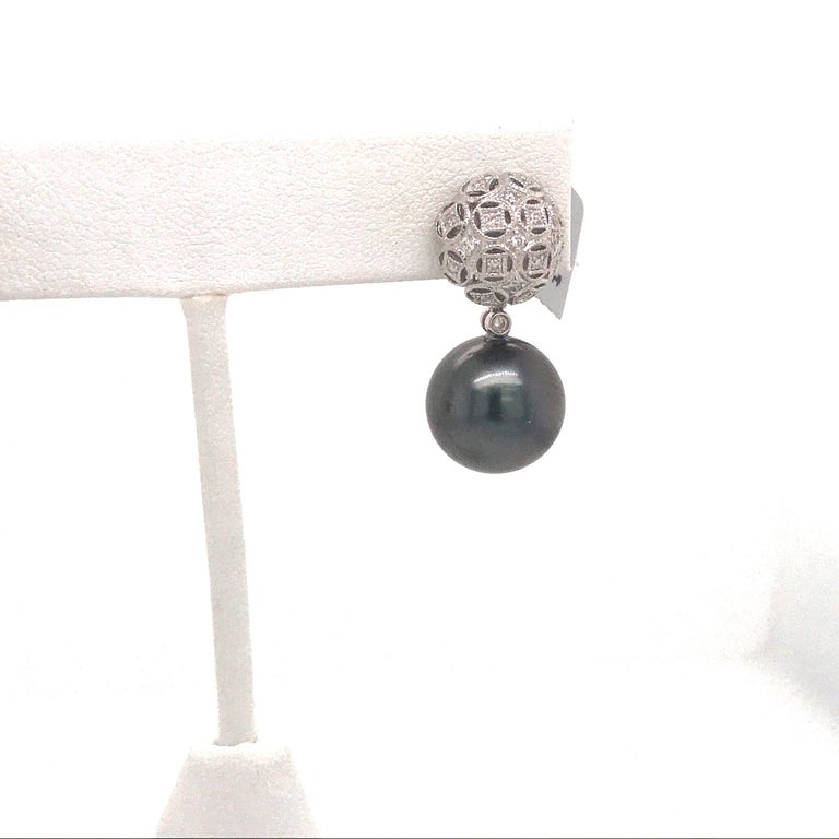 Contemporary Tahitian Pearl Diamond Drop Earrings 0.30 Carat 18 Karat White Gold For Sale
