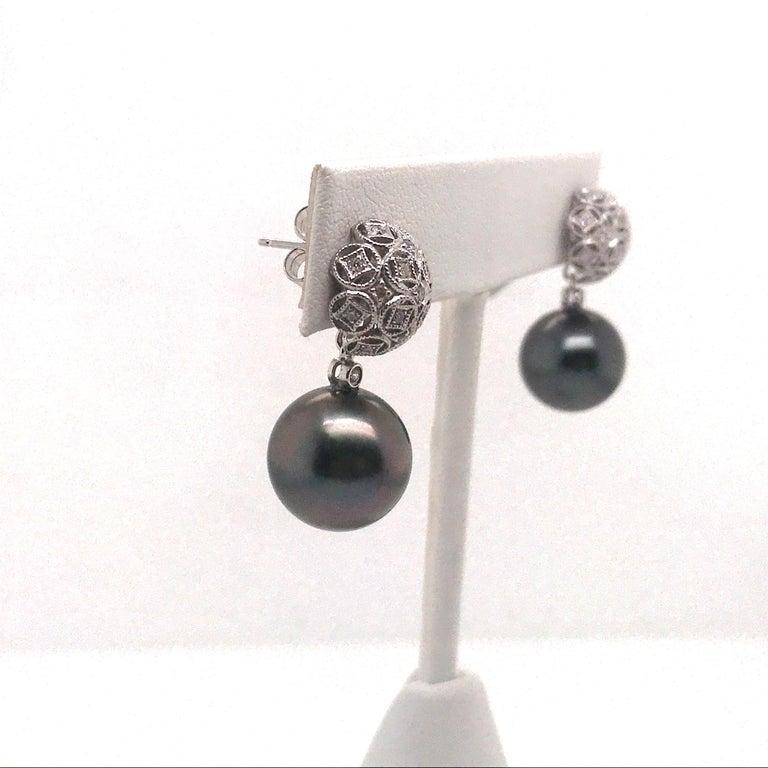 Round Cut Tahitian Pearl Diamond Drop Earrings 0.30 Carat 18 Karat White Gold For Sale