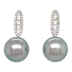 Tahitian Pearl Diamond Drop Earrings 0.45 Carat 18 Karat White Gold