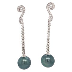 Tahitian Pearl Diamond Drop Earrings 0.52 Carat 18 Karat White Gold