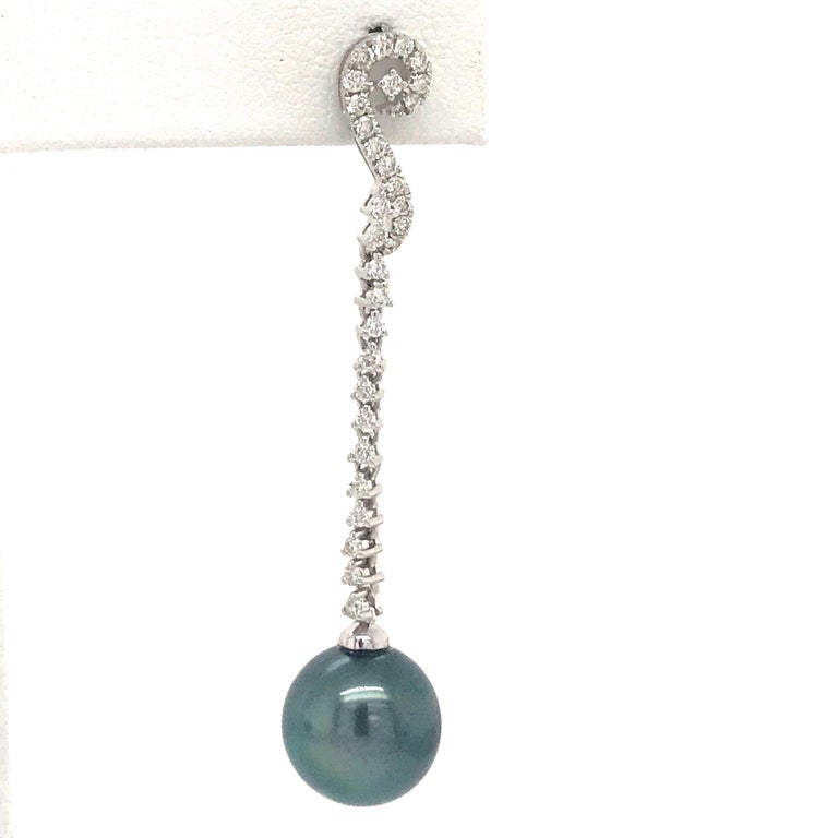 Contemporary Tahitian Pearl Diamond Drop Earrings 0.52 Carat 18 Karat White Gold For Sale