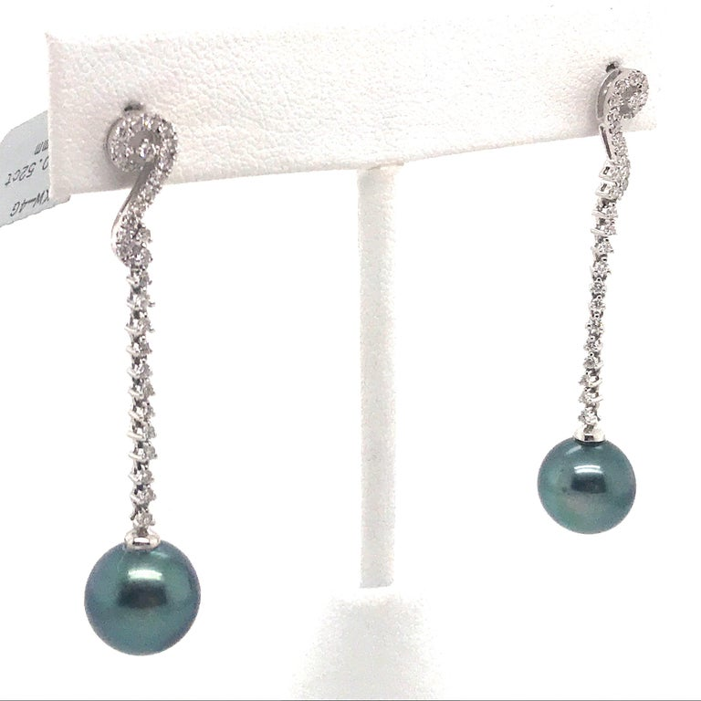 Tahitian Pearl Diamond Drop Earrings 0.52 Carat 18 Karat White Gold In New Condition For Sale In New York, NY