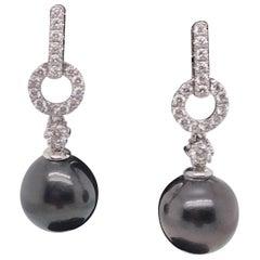 Tahitian Pearl Diamond Drop Earrings 0.55 Carat 18 Karat White Gold