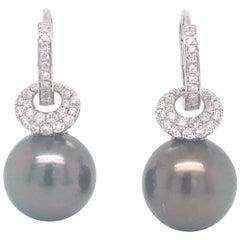 Tahitian Pearl Diamond Drop Earrings 0.57 Carat 18 Karat White Gold