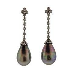 Tahitian Pearl Diamond Gold Drop Earrings