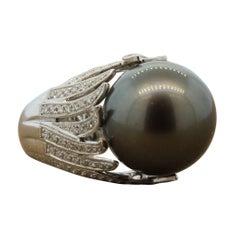 Tahitian Pearl Diamond Gold Ring