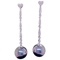 Tahitian Pearl Diamond Heart Drop Earrings 0.47 Carat 18 Karat White Gold