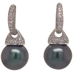 Tahitian Pearl Diamond Huggie Drop Earrings 0.44 Carat 14 Karat White Gold