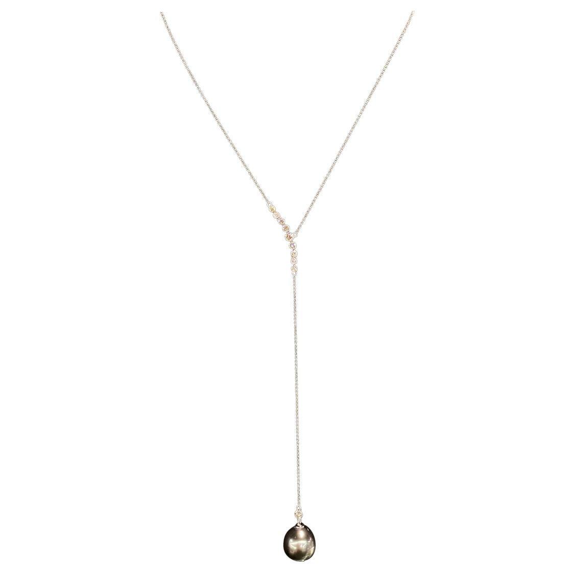 Tahitian Pearl Diamond Lariat Necklace 0.51 Carat 18 Karat White Gold