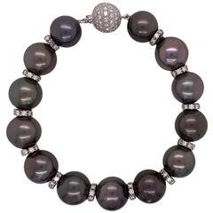 Tahitian Pearl Diamond Rhondel Platinum Estate Bracelet