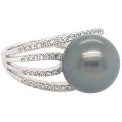 Tahitian Pearl Diamond Ring 0.33 Carats 18 Karat
