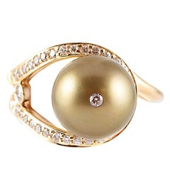 Tahitian Pearl Diamond Ring by Honora