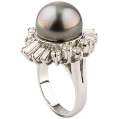 Tahitian Pearl and Diamond Ring Set in 14 Karat White Gold