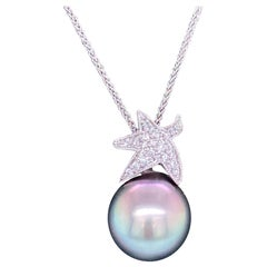 Tahitian Pearl Diamond Starfish Pendant Necklace 0.13 Carat 18 Karat White Gold