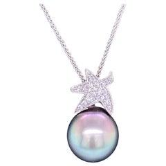 Tahitian Pearl Diamond Starfish Pendant Necklace 0.13 Carat 18 Karat White Gold