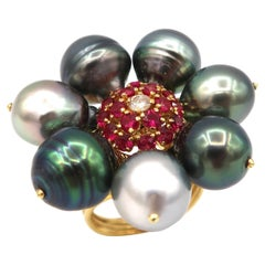 Tahitian Pearl Flower Clustered 18K Yellow Gold Ring with Ruby Diamond Pollen