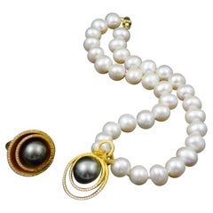 Tahitian Pearl Necklace with 22k Gold and Diamonds