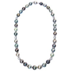 Tahitian Pearl Necklace with White Sapphire Clasp