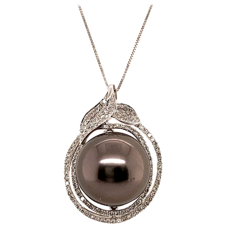 14.7MMTahitian Pearl Pendant Necklace For Sale
