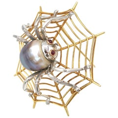 Tahitian Pearl Red Ruby Eyes Spider on Web 18 Karat Gold Brooch