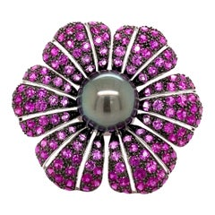 Tahitian Pearl, Ruby, and Pink Sapphire Floral Ring 18 Karat White Gold