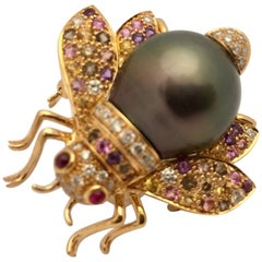 Tahitian Pearl Ruby Diamond and Fancy Sapphire Bee Brooch
