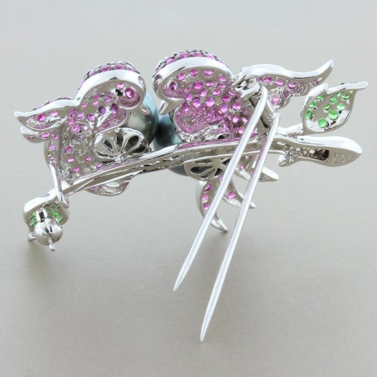 Women's or Men's Tahitian Pearl Ruby Emerald Diamond Gold Bird Brooch For Sale