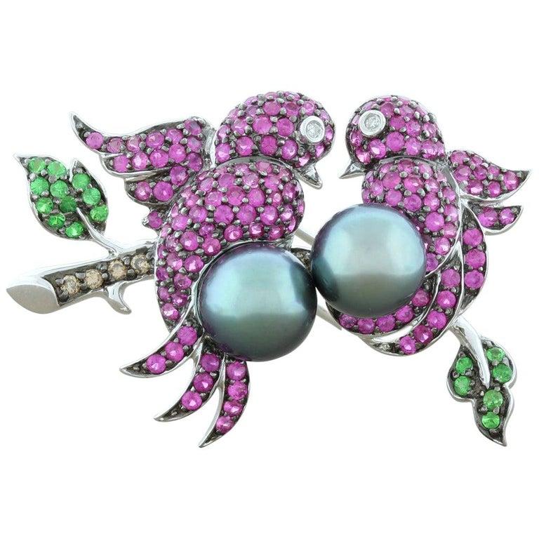 Tahitian Pearl Ruby Emerald Diamond Gold Bird Brooch For Sale