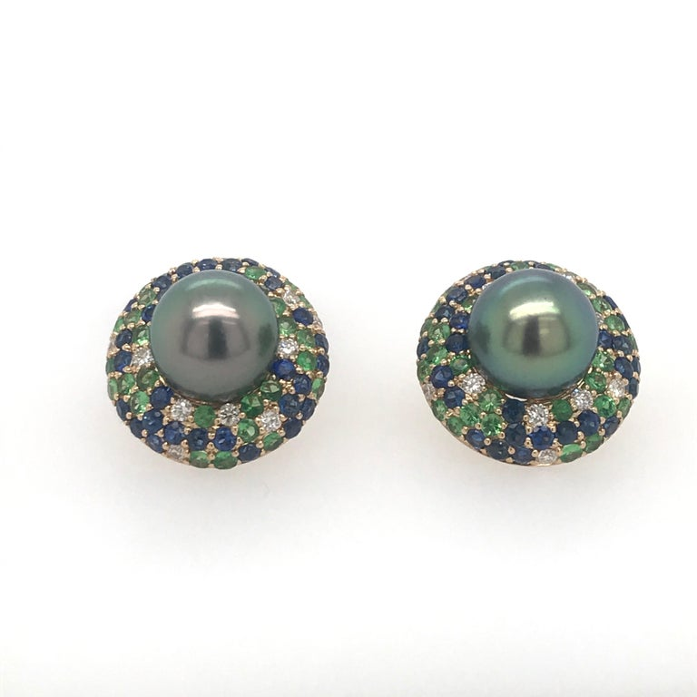 Contemporary Tahitian Pearl Sapphire and Diamond Earrings 3.87 Carats 18 Karat For Sale