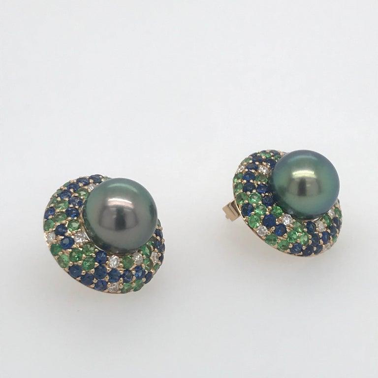 Tahitian Pearl Sapphire and Diamond Earrings 3.87 Carats 18 Karat For Sale 1