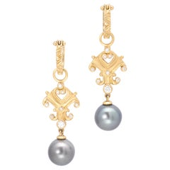 Tahitian Pearl Scroll Drop Earrings with Diamonds in 18 Karat Gold
