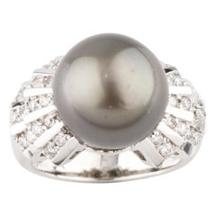 Tahitian Pearl Solitaire Ring with Art Deco Inspired Diamond Accents White Gold