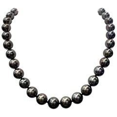 Tahitian Pearl Strand Necklace 14 Karat White Gold 10-12 MM