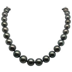 Tahitian Pearl Strand Necklace 14 Karat White Gold