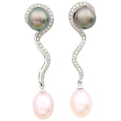 Tahitian Pearl Studs w/ Detachable Diamond Pink Freshwater Pearl 18K Gold Drops