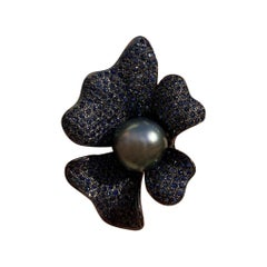 Tahitian Pearl with Blue Sapphires Statement Ring in Oxidized Sterling Silver
