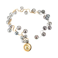 Tahitian Pearls and Diamonds 18 Karat Yellow and White Gold Statement Necklace