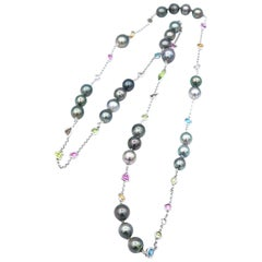 Tahitian Pearls and Multi-Color Rose Cut Gems Long Chain Necklace 18 Karat Gold